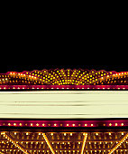 Lighted Theater Marquee at night with copy space areas