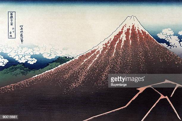 Lightening Bolt strikes Mt Fuji Below the snowcapped summit