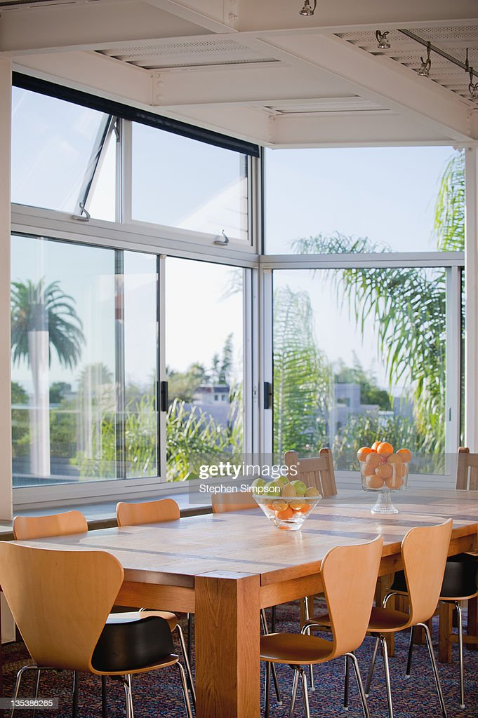 light-filled dining room, modernist home : Stock Photo