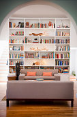 light-filled living room with tall bookshelves