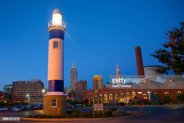 Lighthouse and downtown Cleveland skyline