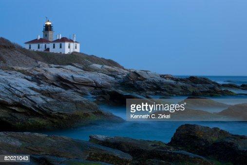 Lighthouse at Beavertail State Park, Jamestown, RI, at dusk. : Stock Photo
