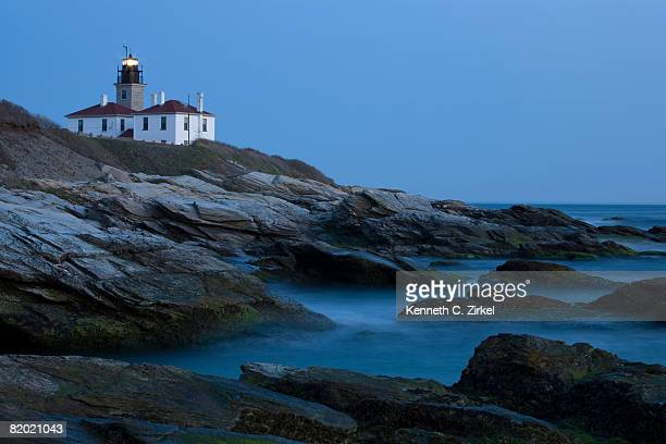 Lighthouse at Beavertail State Park, Jamestown, RI, at dusk.