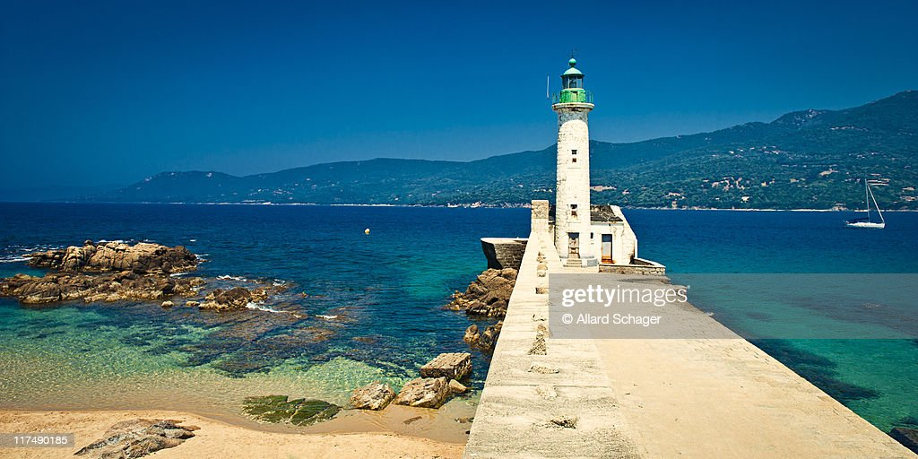 Lighthouse at Propriano Corsica : Stock Photo