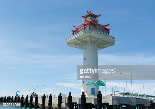 lighthouse at Srichang island Thailand : Stock Photo