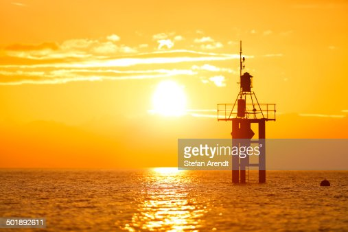 Lighthouse at sunrise, at Hoernle, Lake Constance, Konstanz, Baden-Wurttemberg, Germany