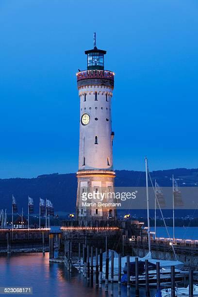 Lighthouse at the harbour at dusk, Lindau on Lake Constance, Swabia, Bavaria, Germany, Europe, PublicGround