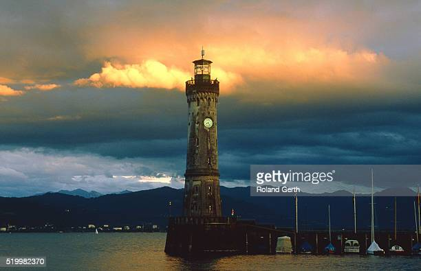 Lighthouse at the harbour of Lindau at the Lake Constance (Bavaria, Germany)