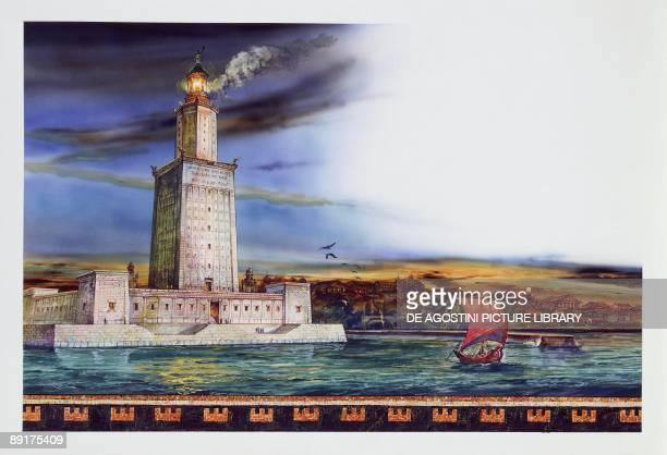 Lighthouse at the waterfront Alexandria Egypt