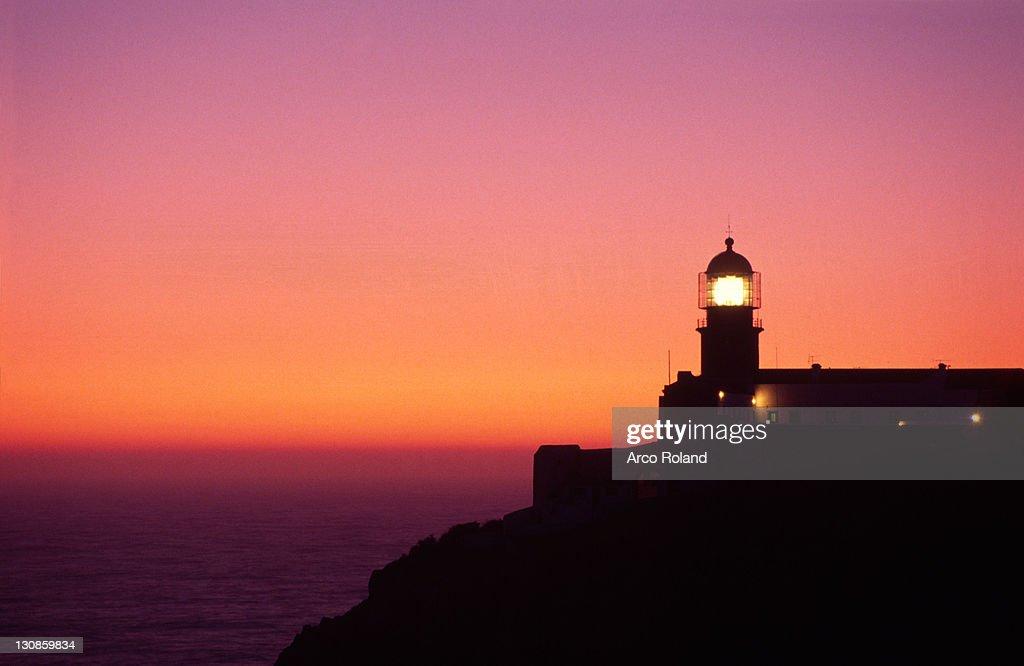 Lighthouse at twilight, Cabo de Sao Vicente, Algarve, Portugal