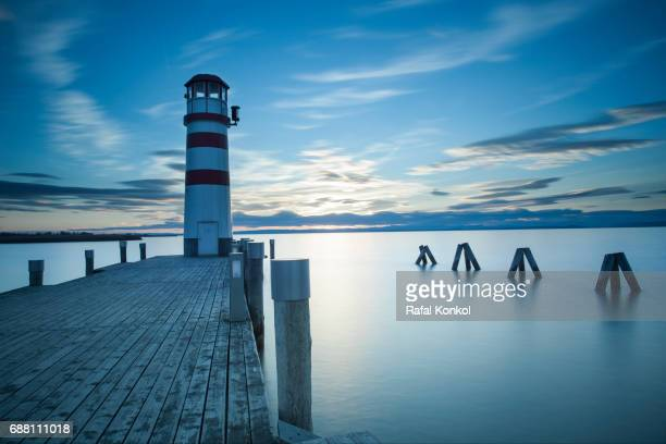 Lighthouse at twilight, Podersdorf, Burgenland, Austria