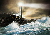 Lighthouse by sea, night (digital composite)