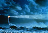 Lighthouse casting beam of light over stormy sea (Enhancement)