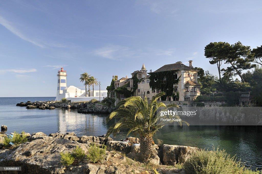 Lighthouse Farol de Santa Marta, Cascais near Lisbon, Portugal, Europe