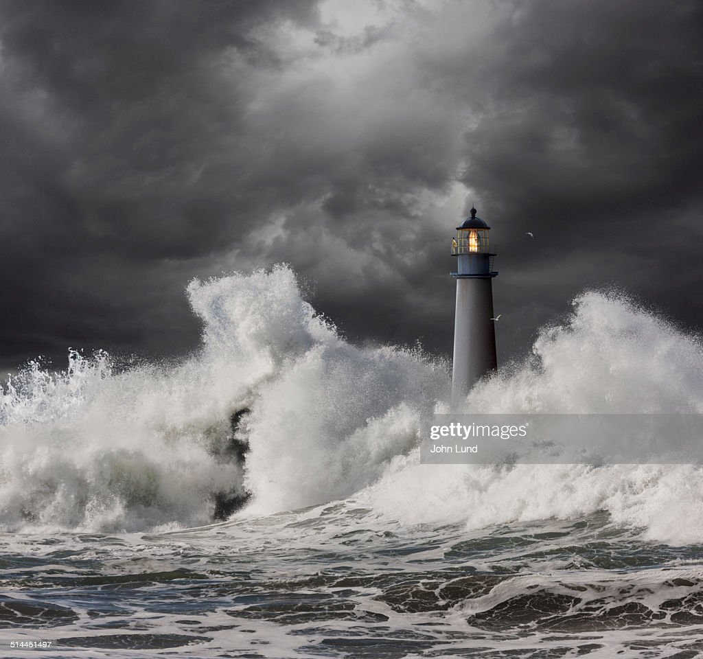 Lighthouse Keeper Vigilant In A Storm : Stock Photo