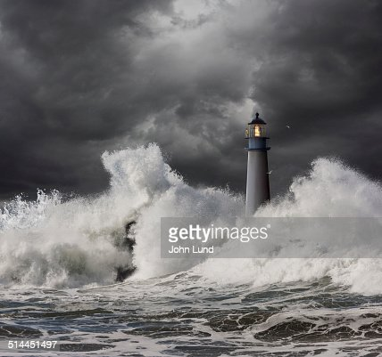 Lighthouse Keeper Vigilant In A Storm