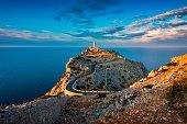 Lighthouse of Cap de Formentor, Mallorca, Balearic Islands, Spain around Sunset.