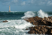 Phare du cap de la Hague, Goury Normandy France on a stormy day in summer