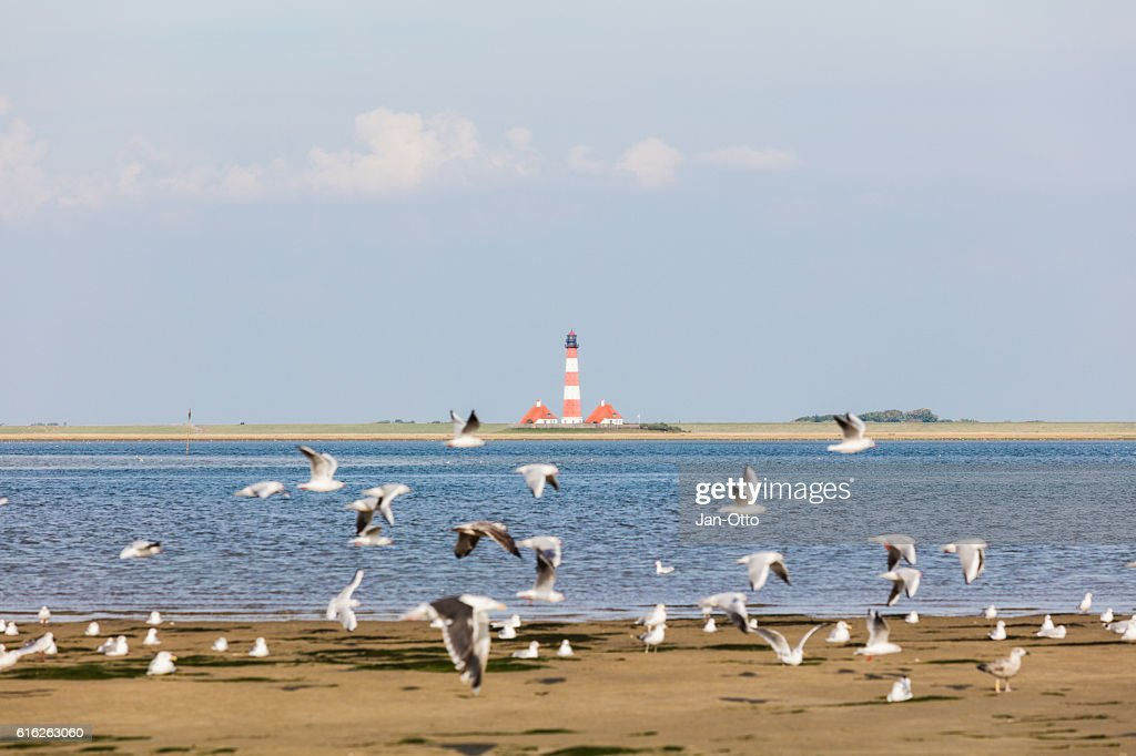 Lighthouse of Westerhever, Germany : Stock Photo