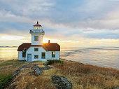 Lighthouse on Patos Island at sunrise, San Juan Islands, Washington State, USA