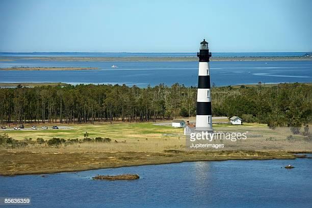 Lighthouse on seashore