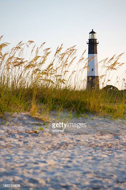 A lighthouse on the beach with sand and grass