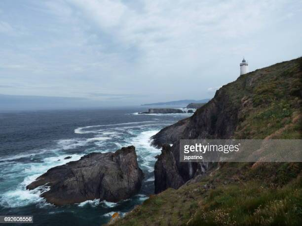 Lighthouse on the edge of some cliffs in Galicia. Spain