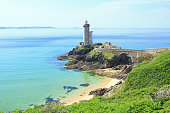 Lighthouse 'Phare du Petit Minou' at the roadstead of Brest, Finistere, Brittany, France