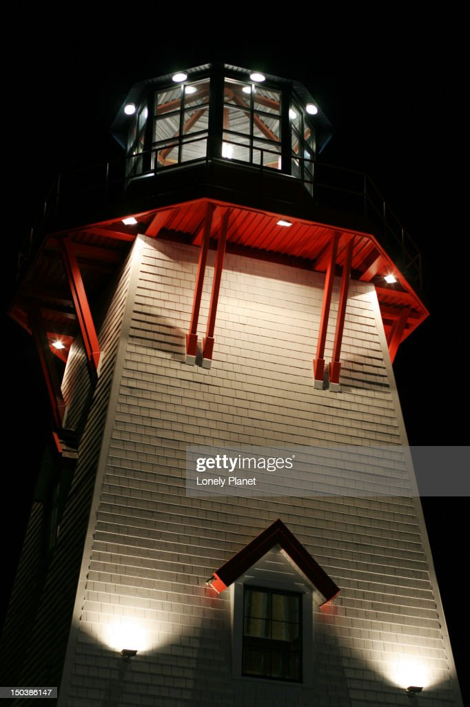 Lighthouse replica at The Village at Park Royal, in West Vancouver at Ambleside-by-the-Sea. : Stock Photo