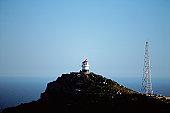 Lighthouse & rig on rock coast