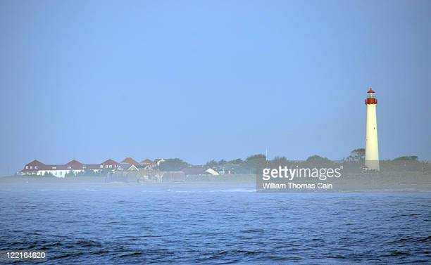 A lighthouse sits in the path of Hurricane Irene August 26 2011 in Cape May New Jersey The Cape May Department of Emergency Management ordered the...