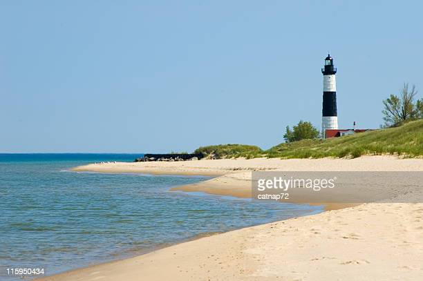 Lighthouse with Beach Coastline, Michigan Shore Great Lakes