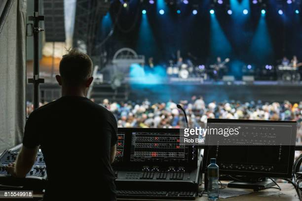 A lighting engeneer at work at Latitude Festival at Henham Park Estate on July 16 2017 in Southwold England