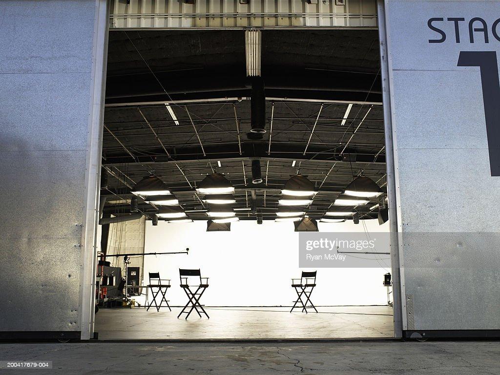 Lighting equipment and folding chairs in film studio