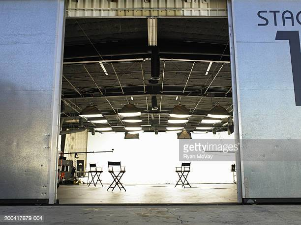 Lighting equipment and folding chairs in film studio
