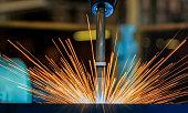 Lighting from robot welding.