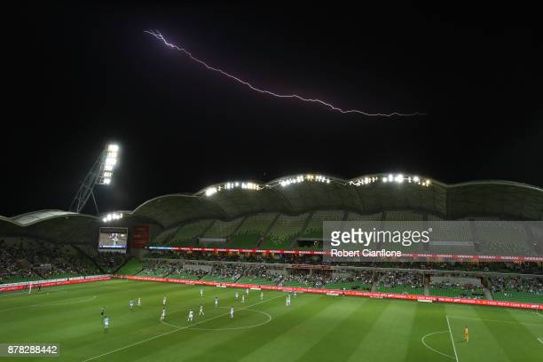 Lighting is seen during the round eight ALeague match between Melbourne City and Perth Glory at AAMI Park on November 24 2017 in Melbourne Australia
