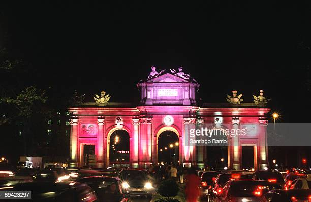 Lighting of the Madrid's streets and monuments on the occasion of the Prince Felipe and Letizia Orti's wedding Alcala Gate