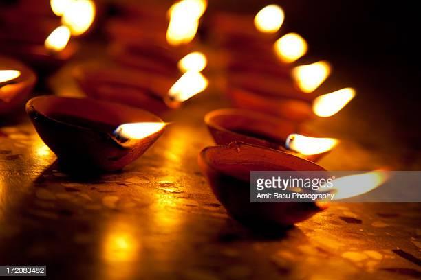 Lighting Oil Lamps (Diya / Pradeep) for Diwali