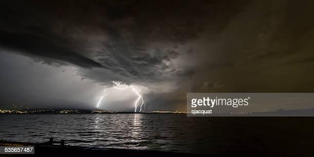 Lighting over lake