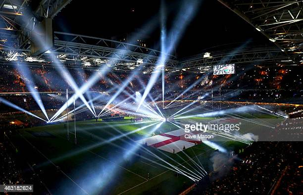 A lighting show is seen in the stadium at the start of RBS Six Nations tournament prior to the RBS Six Nations match between Wales and England at...