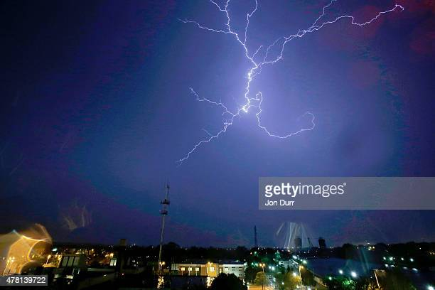Lighting strikes outside of Joliet Illinois from a tornadic supercell that produced a tornado that struck Coral City on June 22 2015 in Joliet...