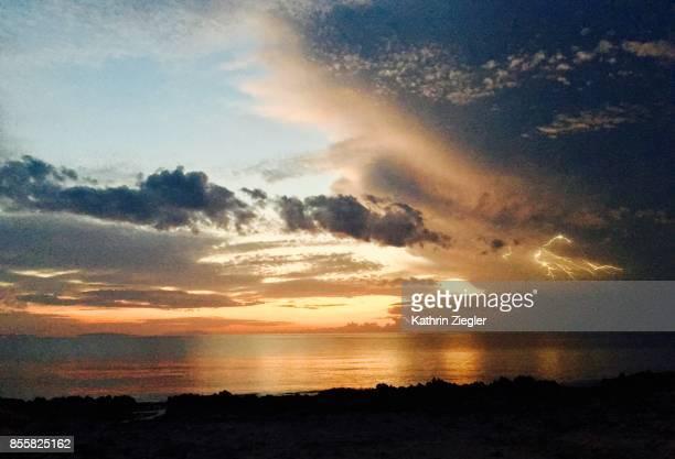 Lightning at sunset, Sicily