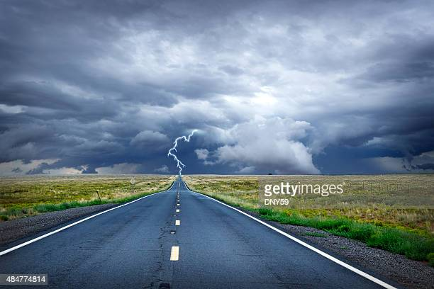Lightning Bolt At The End Of Long Rural Road
