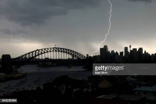 A lightning bolt hits the pylon on the Sydney Harbour Bridge on February 17 2017 in Sydney Australia A severe thunderstorm hit Sydney this afternoon...