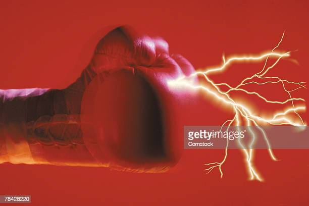 Lightning bolts coming from boxing glove
