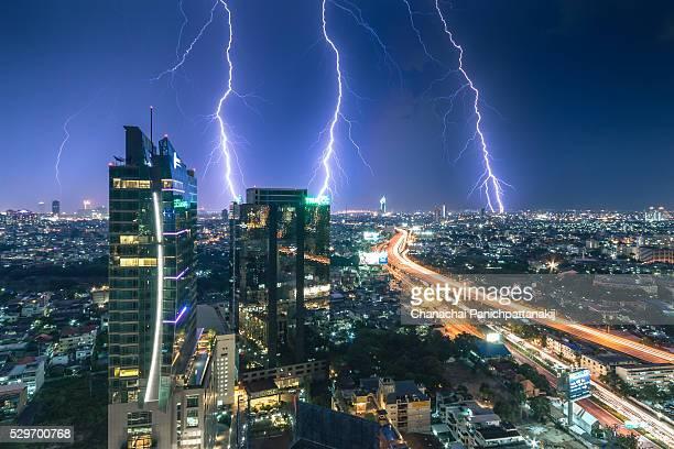 Lightning Bolts over Bangkok city center, Thailand