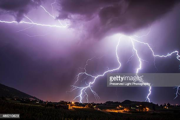 Lightning bolts over south Okanagan Valley, Penticton, British Columbia, Canada