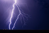 Lightning bolt strike from a storm at night with a dark sky background. Thunderstorm with copy space.