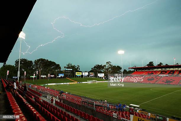 Lightning delays play during the round 12 WLeague match between Western Sydney Wanderers and Brisbane Roar at Sportingbet Stadium on December 7 2014...